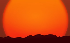Picture the sun, sunset, mountains, horizon