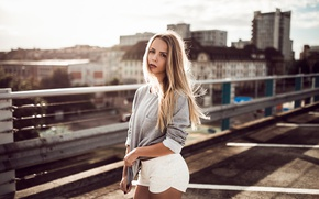 Picture Shorts, Girl, Look, Blonde, The city