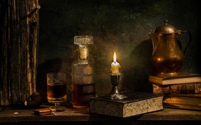 Picture wine, books, candle, decanter, Single malt