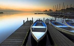 Picture fog, lake, dawn, boat
