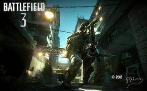 Picture street, battle, soldiers, rifle, battlefield 3