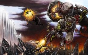Picture fire, smoke, soldiers, Orc, warhammer 40k, bolter, stormtroopers, Eldar, satchel, helmet. sword, rocket