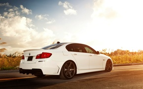 Picture clouds, light, tuning, bmw, BMW, white, 5 series