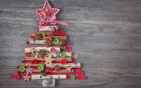 Picture decoration, tree, New Year, Christmas, Christmas, vintage, wood, tree, decoration, Merry