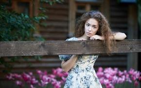 Picture portrait, dress, village, brown-eyed