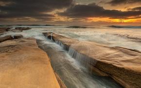 Picture sea, clouds, sunset, Rocks, sea, sunset, clouds, rocks