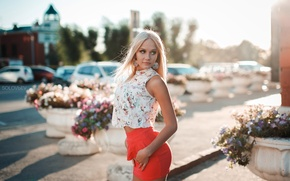 Picture summer, girl, the sun, flowers, machine, skirt, makeup, figure, slim, area, hairstyle, blonde, blouse, is, …