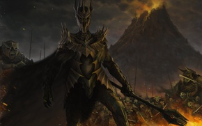 Picture fire, mountain, the Lord of the rings, art, battle, orcs, Mace, armor, Troll, the lord …