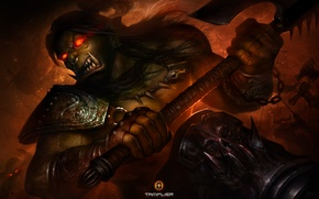 Picture anger, weapons, war, anger, warrior, art, rage, battle, axe, warriors, Orc