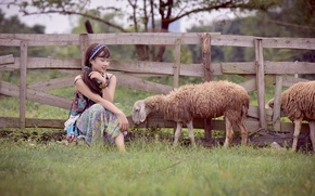Picture girl, face, the fence, sheep, East