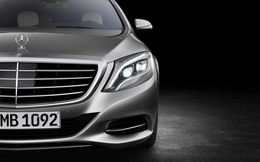 Picture Headlight, Grille, Background, Mercedes, S-class, The flagship, Diode