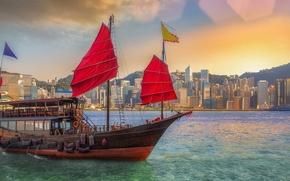 Picture the city, China, building, Bay, Hong Kong, China, Hong Kong, junk, Victoria Harbour, The Victoria …