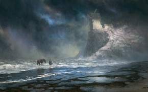 Picture sea, horse, people, art, bad weather, painted landscape