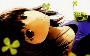 Picture girl, sheet, frog, art, leaf, clover, happy, pixiv girls collection, nauribon