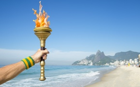 Picture hand, Brazil, Torch, Olympic games