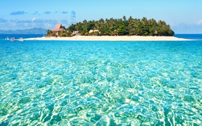 Picture palm trees, the ocean, island, exotic, island, Fiji