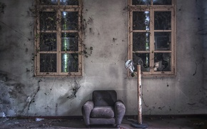 Picture Windows, chair, gas mask