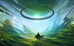 Picture green, fantasy, cloak, art, human, arsenixc, another dimension