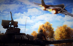 Picture flight, fighter, soldiers, tank, Battlefield 4