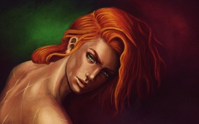 Picture red, guy, green eyes, fan art, scars, Kvothe, Cote, Kingkiller Chronicle, Name of the Wind