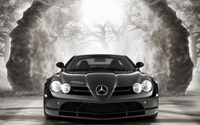 Wallpaper black and white, gelding, car