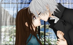 Picture water, flowers, window, curtains, Vampire Knight, Yuki, Zero