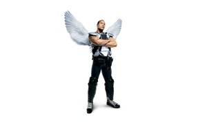 Wallpaper wings, angel, fantasy, white background, athlete, form, poster, muscles, Dwayne Johnson, hockey player, Dwayne Johnson, ...