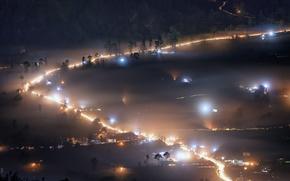 Picture Bali, Indonesia, Misty Night, Kintamani