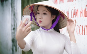 Picture girl, face, lips, Asian, selfie, cellphones