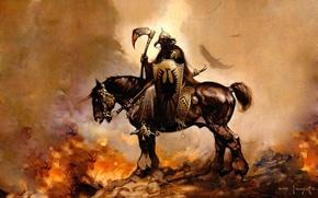 Picture fire, horse, figure, fantasy, rider, frazetta