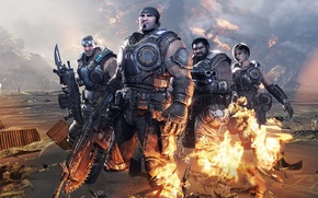 Wallpaper weapons, team, Gears of War 3, fire