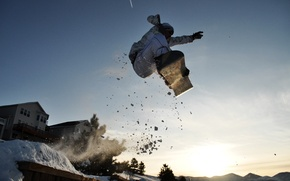 Picture the sun, snow, mountains, jump, snowboarder