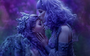 Picture fantasy, girls, kiss, art, Ophelia Overdose, Agnieszka Lorek, Lavender Love, sisters of night