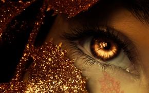 Picture sparkle, eye, photomanipulation, gold, golden, fantasy