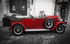 Picture machine, pavers, Prague, convertible, oldcar