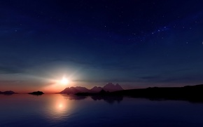 Picture stars, sunset, mountains, reflection, The sun, The moon, moon, sunset, mountain, stars, sun, reflection