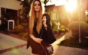 Picture look, girl, the sun, street, model, bag, beautiful, Sunny, brown hair, Kristina Bazan, Kristina Bazan