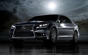 Picture asphalt, night, moon., Lexus-LS460-F-Sport