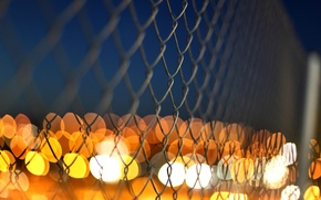 Wallpaper macro, lights, mesh, the fence, fence, yellow, blur, orange, metal