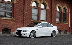 Picture white, the building, Windows, bmw, BMW, white, front view, blinds, headlights, g-power, e46