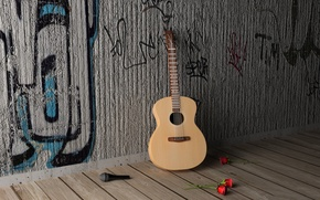 Picture GUITAR, FLOWERS, MICROPHONE, ROSES, MOOD, GRIF, STRINGS, DECA, ACOUSTICS