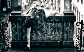 Picture street, dance, ballerina, Pointe shoes, street ballet