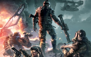Picture weapons, fire, smoke, battle, machine, soldiers, helicopter, shootout, the vest, Crytek, Warface