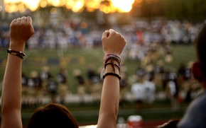 Picture football, the game, hands, American, fans