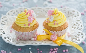 Picture sweets, flowers, cakes, cakes, dessert, sweet, cupcakes, decoration, Anna Verdina, cream, ribbons, yellow
