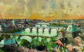Picture picture, bridges, Maximilian DAmico, panorama, the urban landscape, Prague, watercolor, river