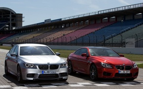 Picture track, front view, cars, and, BMW M5, Competition Package, BMW M6 Coupe