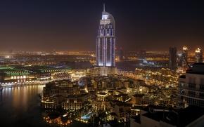 Picture water, night, the city, palm trees, home, Dubai, the hotel, Dubai, Emirates, United, Cities, Arab, ...