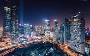 Picture night, lights, China, China, Shanghai