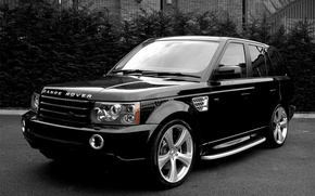 Wallpaper black and white, jeep, SUV, Land Rover